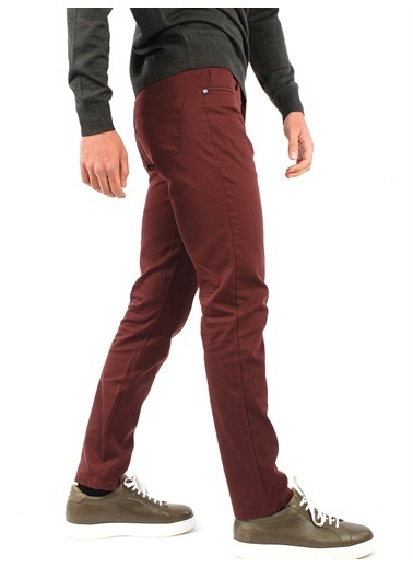 Dufy Grı Düz Pamuk Lıkra Karışımlı Kanvas Erkek Pantolon - Regular Fıt Bordo